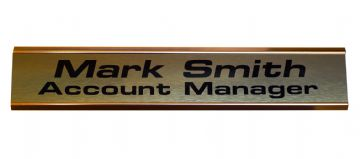 Large Door NamePlate Custom 2 lines of Text| Brushed Brass effect with Gold Aluminium Holder